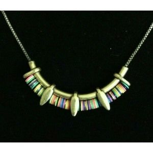 Stella and Dot Gold Tone Rainbow Necklace 17""